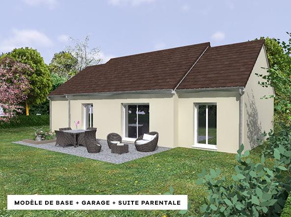 modèle de base de maison avec garage et suite parentale